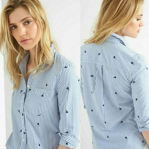 Gap Embroidered Palm Tree Striped Shirt